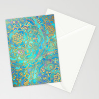 Sapphire & Jade Stained Glass Mandalas Stationery Cards by Micklyn