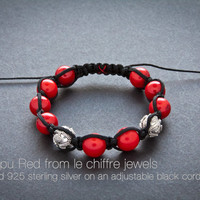 Co Tapu Red coral silver shamballa bracelet