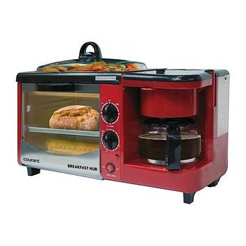 Coffee Maker, Toaster Oven, and Griddle with Lid Breakfast Station