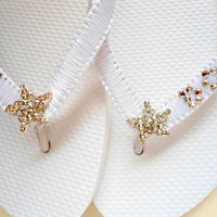 "Crystal Flip Flops, ""I Do"" Wedding Flip Flops embellished with starfish rhinestone and crystals"
