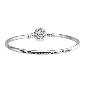 Beauty & The Beast Silver Bangles with Clear CZ 100% 925 Sterling-Silver-Jewelry For Women DIY 13B043