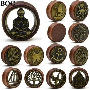 1Pair Double Flared Wood Ear Tunnels Plugs Buddha Gauge Expanders Tree Of Life Ear Taper