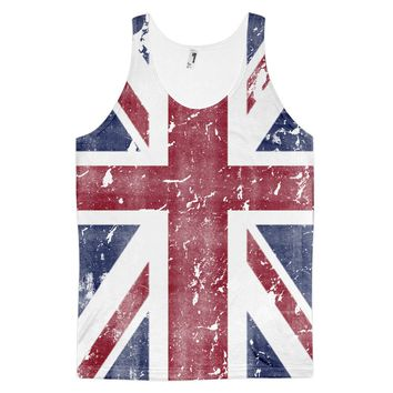 Dirty Vintage Union Jack British Flag Full Print Unisex Tank Top