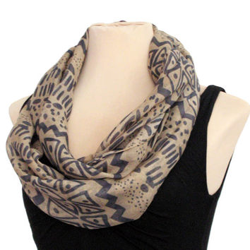 Beige And Grey Aztec  Infinity Scarf - Tribal Boho Cotton Lightweight Gift Native Scarf Chevron Fashion Tube Scarves Loop Scarf  Women