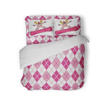 Pink and White Argyle Comforter from Extremely Stoked Preppy Girls Bedding