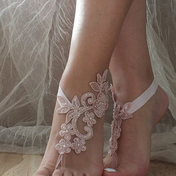 Free Ship pink, White or ivory, champagne, black,  blue, lace barefoot sandals , Flexible wrist lace sandals Beach wedding barefoot sandals