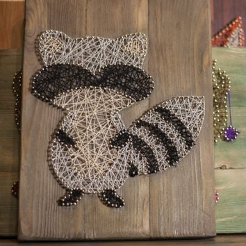 Raccoon string art wall decor for home, animal wall decor for nursery, animal wall art wood interior, modern wall decor, Christmas gift idea