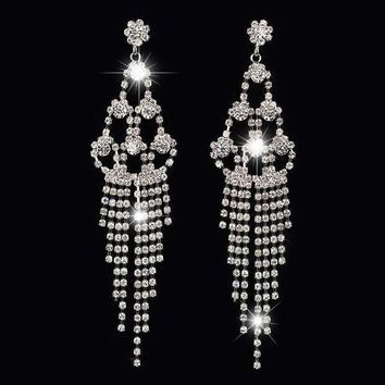 ESBONDO Long paragraph diamond tassel temperament beauty bridal earrings claw chain