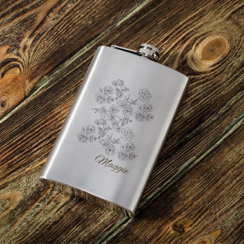 Personalized flask for women - Drinking Accessory - 21st birthday gift for her - Bridesmaid Gift - Engraved Stainless steel 10 oz Hip Flask