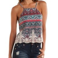 Red Combo Embroidered Boho Print Tank Top by Charlotte Russe