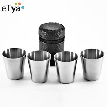 4Pcs/set PU Cover Portable 30ml Stainless Steel Wine Cups Drinking Vodka Whisky Liquor Alcohol Bottle Mug Travel Accessories