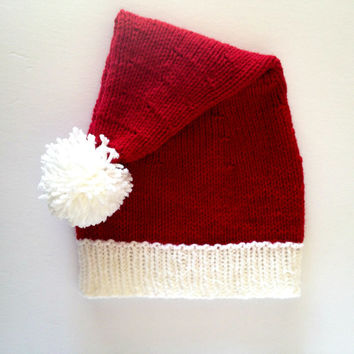 Santa Claus, Knit Santa Hat, christmas hat, elf hat, ladies winter hats, holiday clothes, novelty hat, santa costume, santa clause