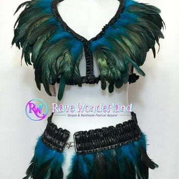 Women's Turquoise Feather Top & Feather skirt,Feather Top,Feather Skirt,Feather outfit,Feather set,Burning Man Outfit,Rave outfit,Rave,Edc