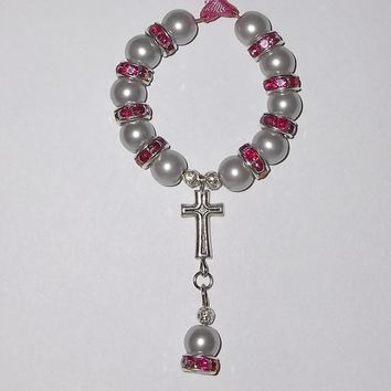Grey Pearl & Hot Pink Swarovski Crystal Car / Pocket Rosary