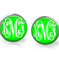 Monogram earrings neon green , monogram post earrings , monogram jewelry neon green, party favors