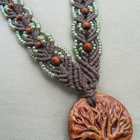 Tree of Life Macrame Hemp Necklace with by PerpetualSunshine111