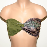 Olive and Pine Camo Bandeau Top, Swimwear Bikini Top, Twisted Top Bathing Suits, Spandex Bandeau Bikini