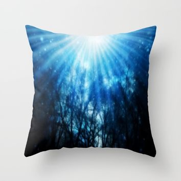 There Is Hope In the Light : Black Trees Blue Space Throw Pillow by 2sweet4words Designs