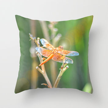 Dragonfly Throw Pillow by Lisa Argyropoulos