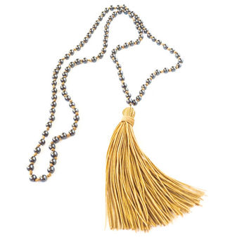 Long Beaded Necklace Tassel Boho Jewelry Tassel Necklace - Mala Necklace 108 Mala Prayer Beads -Hematite with gold