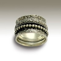 Sterling silver filigree band with silver filigree by artisanlook