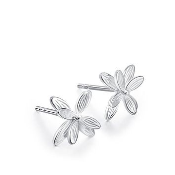1Pair Women's Small And Pure And Fresh Flowers Of Design Of Stud Earrings