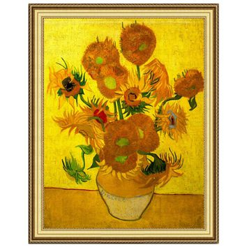 Golden Panno,Needlework,Embroidery,DIY Floral Painting,Cross stitch,kit,11ct Van Gogh sunflower Cross-stitch,Sets For Embroidery