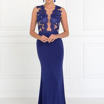 Sexy royal blue evening gown gls 2286