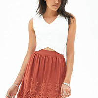 FOREVER 21 Mesh Embroidered Skirt Rust