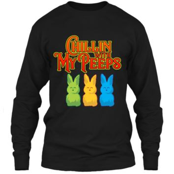 Chilling With My Peeps T-shirt Cool Easter Bunny Rabbit Tee LS Ultra Cotton Tshirt
