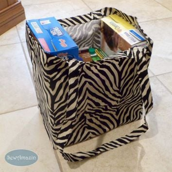 Reusable Grocery Bags, Farmers Market Bags, Shopping Totes, Zebra Print