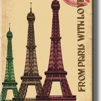 From Paris with Love, Eiffel Tower Picture on Acrylic , Wall Art Décor, Ready to Hang