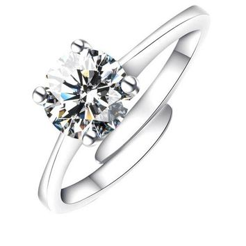 Adjustable Silver Color CZ Crystal Wedding Rings For Women
