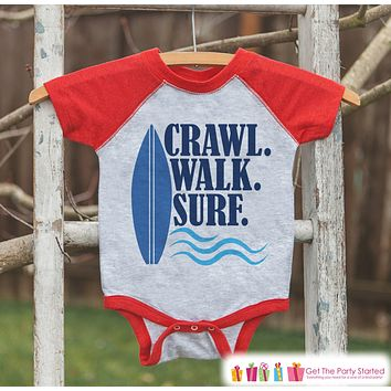 Crawl Surf Walk Raglan Onepiece or T-shirt - Custom Summer Outfit For Kids, Infants - Red Raglan Shirt, Baseball Tee or Baby Onepiece