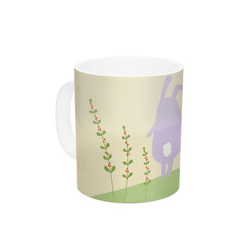"Cristina bianco Design ""Cute Bunnies"" Beige Animals Ceramic Coffee Mug"