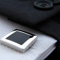 Black Cufflinks - Square black cufflinks for Men - Accessories  - Silver black - Cuff links - Gift for men