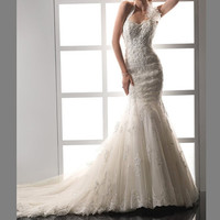 Retro lace applique bridal wedding dress beaded A-line mermaid Cathedral Homecoming dress formal evening dress