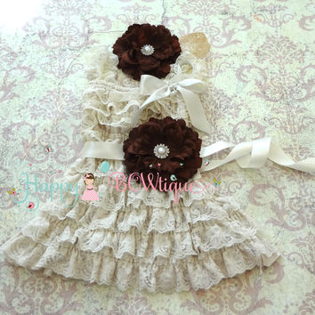Rustic Champage Brown Flower Lace Dress set
