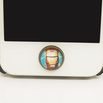 1PC Retro Epoxy  Iron Man Transparent Time Gems Alloy  Cell Phone Home Button Sticker Charm for iPhone 4,4s,4g,5,5c Kids Gift