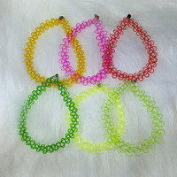 90s Vtg 6 pcs Rainbow Color Tattoo Bracelets Stretch Set. 90s Deadstock. Club Kids. Kawaii. Wholesale Price.