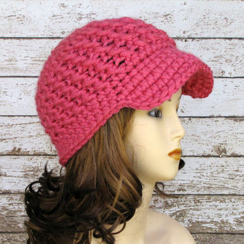 Pink Crocheted Newsboy Hat, Crocheted Visor Beanie, Woman's Hat