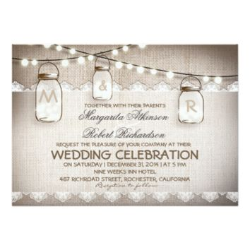 burlap lace string lights and mason jars wedding 5