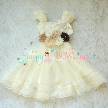 Rustic Flower girl dress/ Girl's Burlap Ivory Lace Chiffon Dress set