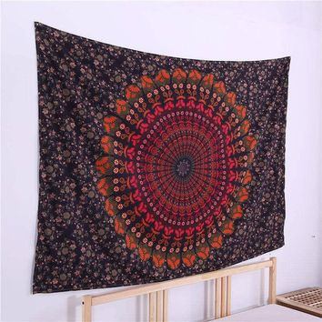 Rectangle Polyester Fabric Indian Tapestry Mandala Wall Hanging Home Decor Square Beach Tapestry Hippie Throw Yoga Mat Carpets