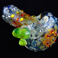 Glass Pipes, Pipes, Girly Pipes, Cool Pipes, Rhinestone, Unique Pipes, Color changing pipe, Tobacco Pipes, Slyme Glass, Bedazzled, Love