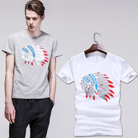 Summer T-shirts Korean Slim Cotton Print Round-neck Short Sleeve Bottoming Shirt [6544002883]