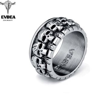 Graduation Rock Roll kpop Silver Gothic Punk Lots of Baby Skulls Big Rotating Bikers Bible Rings Men's & Boys' Jewelry