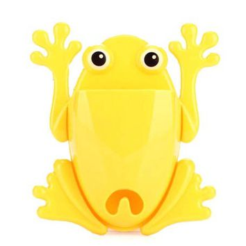 Froggy Frog Shaped Toothbrush Holder Make Up Organizer Bathroom Stand in Yellow