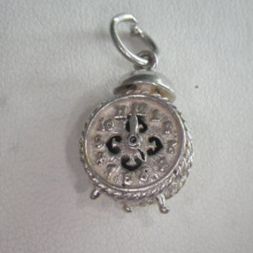 Vintage Sterling Silver Nuvo Moving Clock Charm Pendant