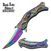 Dark Side Ballistics DS-A019 Series Spring Assist Folding Knife, Dragon Scale Detail Blade, 4.5-Inch Closed